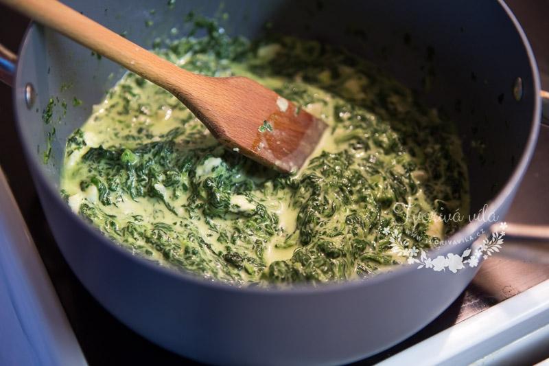 Příprava na špenátový závin